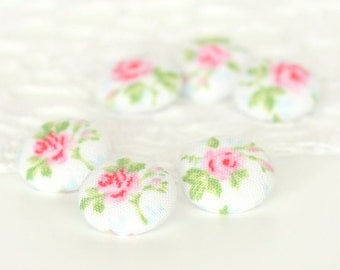 Fabric Buttons - Romantic Shabby Cottage Chic Roses - 6 Small Pink Flowers with Green Leaves on White - Floral Fabric Covered Buttons