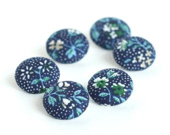 Fabric Buttons, Dark Blue Flowers, 6 Small Fabric Covered Button, Blue, Turquoise, White, Handmade Fabric Button, Sewing, Clothing, Knitting
