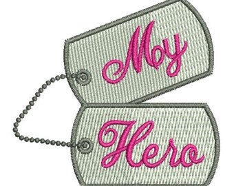 Military Hero Dog Tags Machine Embroidery Designs 4x4 Instant Download Sale