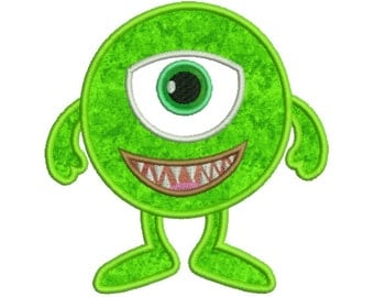 Cute Little Monster Cyclops Applique Machine Embroidery Design 4x4 and 5x7 Instant Download