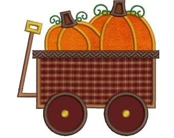 Applique Pumpkin Wagon Fall Autumn Thanksgiving Halloween Embroidery Designs 4X4 and 5X7 Included - Instant Download Sale