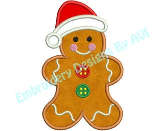 Gingerbread Santa Christmas Applique Embroidery Designs 4x4 & 5x7 Instant Download Sale
