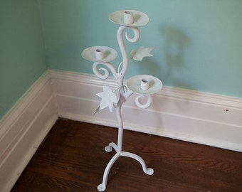 wrought iron candelabra vintage candle holder tall huge metal ivy shabby chic white cottage prairie