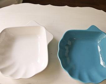 aqua white shell serving dish pfaltzgraff blue turquoise beach coatal cottage shell