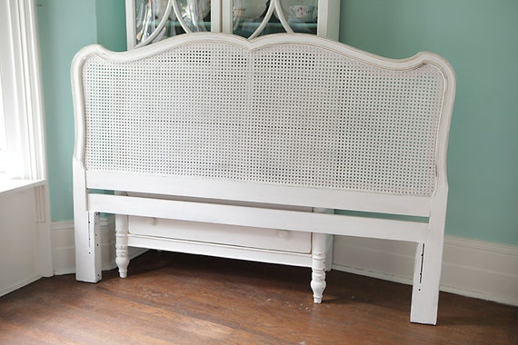 Full Queen Headboard French Shabby Chic White Distressed