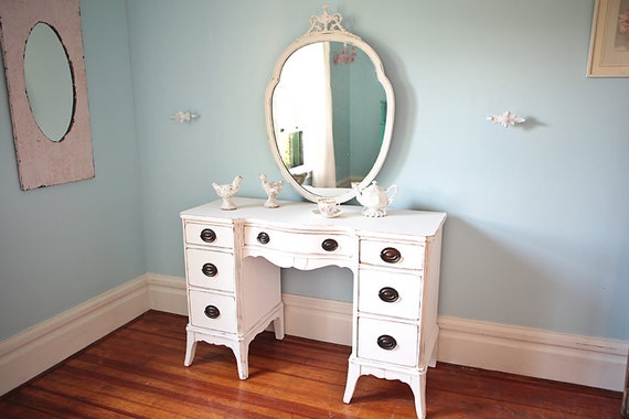 Shabby Chic Vanity Desk White Distressed Antique Cottage