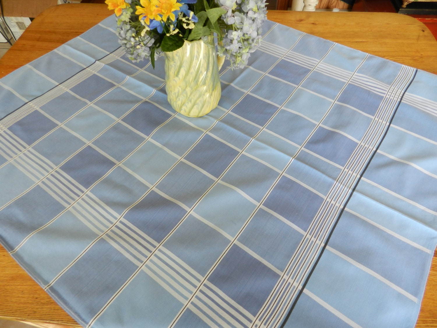 Vintage Blue Plaid Tablecloth By Snowycreekdesigns On Etsy