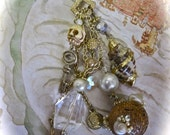 Underwater Plunder Redux: Pirate Necklace Vintage Assemblage Choker Undersea Treasure Skull Key Gold Coins Charms Crystals Shells