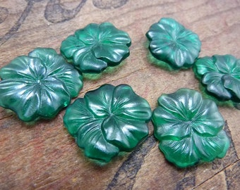 Vintage Glass Rhinestone Petal Flower Rhinestone Emerald (1)
