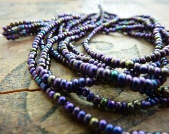 Vintage Purple Iris Size 11 Seed Bead (4 Long Strands)