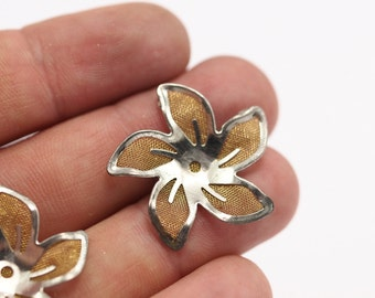 12 Brass And Silver Color Wire Flower Filigree , Findings  D132--C052