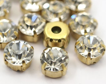 10 Ss45 Crystal Chaton Sew On Rhinestone Raw Brass Prong Setting 4 Hole Slider - E-112  K385