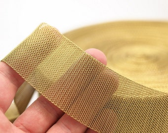 Brass Mesh Chain, 1 M - Large (40x1mm) Raw Brass Mesh Chain ( Z091 )