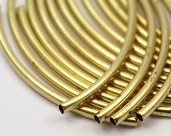 30 Raw Brass Curved Tube Findings (55 X 3 Mm)   Brc259