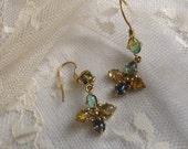 Sale,Colorful Vintage Pastel Stone Dangle Earrings,Soft Blue Vintage Earrings, Gemstone Earrings,Feminine Delicate Earrings,Girl Earrings