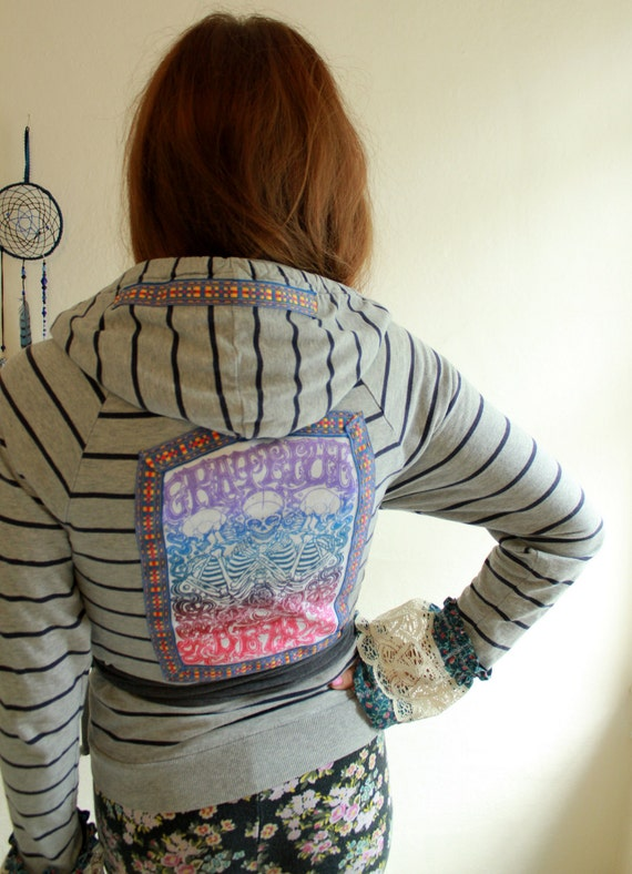 Bell Sleeve Ruffle GratefulDead Hoodie Upcycled Clothing Bohemian Wrap/Kimono Sweater/Top/Shirt with Hippe Trim Womens Size Small/Medium