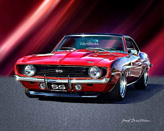 muscle car print 1969 camaro ss hot rod art auto poster