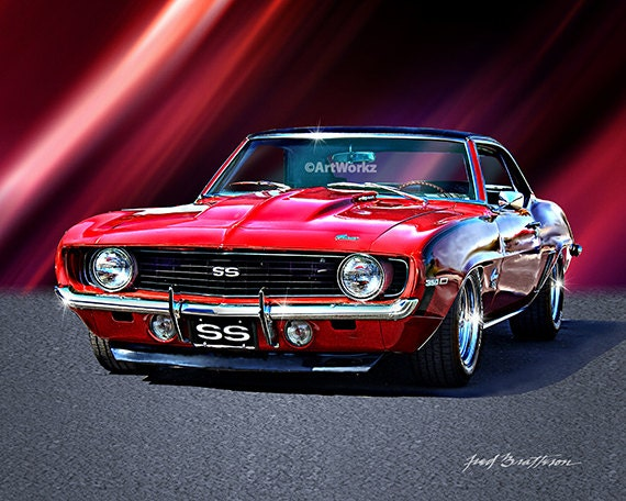 Muscle Car Print 1969 Camaro Ss Hot Rod Art 8 X 10 By Artworkz