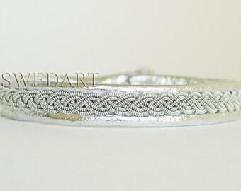 SwedArt B12 Sami-Lapland Leather Bracelet-Pewter Braid-Antler Button-Silver SMALL