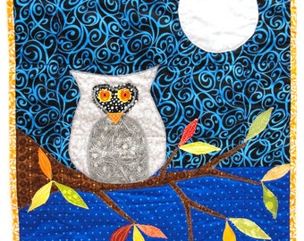 "Autumn owl quilt- appliqued wall quilt with night sky, owl, autumn leaves and full moon,  ""Midnight Watch"""