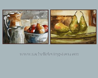 For her gift under 25 Fruit wall art kitchen Wall decor kitchen wall art watercolor painting fruit still life fruit painting 5x7 art PRINTS