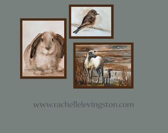 animal painting Childrens Nursery Print SET 3 PRINTS nursery bird print, nursery bunny print, nursery sheep print) in sepia cream brown tan