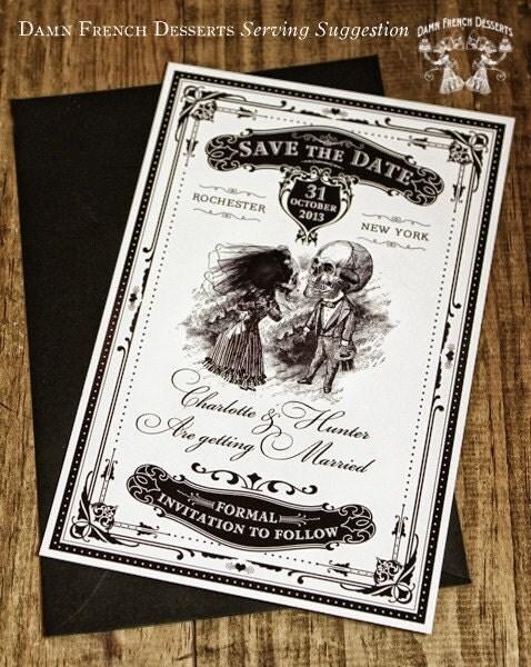 Halloween Wedding Invitation Printable Skeletons in Love Save