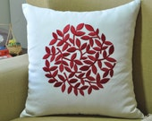 Decorative Pillow, White Pillow, Throw Pillow Cover, White Linen, Red Circle of Leaves, Embroidered, Toss Pillow, Modern Home Decor