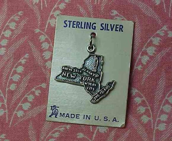 Vintage Sterling New York State map Charm on OC