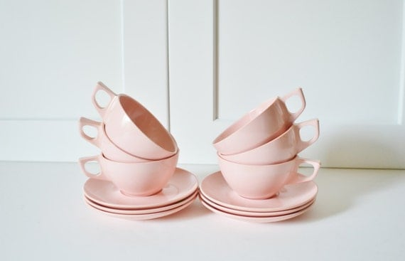 Melmac Coffee Cups and Saucers Stetson Pink Melamine Set of 6-Mid Century Modern Decor