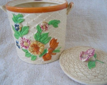 Vintage KITCHEN FLORAL CONTAINER Home Decor Farmhouse Country Collectible Cottage Home Style Made in Japan