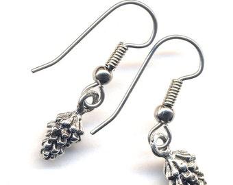 Pine Cone Earrings, Silver Earrings, Good Luck Earrings, surgical steel earrings, handmade jewelry by AnnaArt72