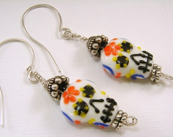 Glass Sugar Skull Earrings, Halloween, Day of the Dead, Sugar Skull Earrings,
