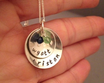 Personalized Mothers Necklace, custom hand stamped necklace