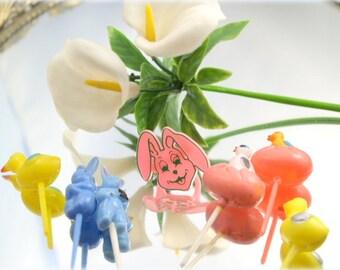 Chicks Bunnies Lillies Oh My Vintage Retro Easter Picks  Destash Mixed Media Assembalge Art 1