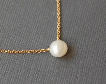 White Pearl Solitaire Necklace, Your Choice of Sterling or Gold Fill, Delicate Layering Necklace