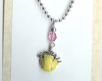 Softball Necklace Pick your Team Colors