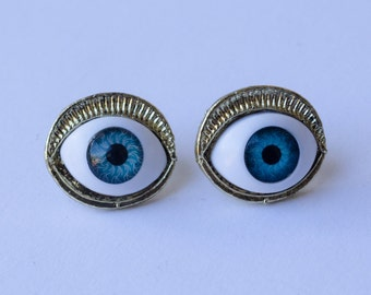 Blue Eye Earring, Eye earring studs, Evil Eyes, Bronze Cute Stud Earrings