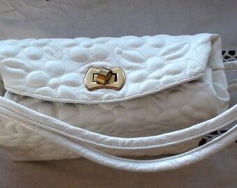 Retro Bag Bridal Vintage Mid Century Stylecraft Faux Leather VERY RETRO White Bag 1950s Hollywood On SaLe Now