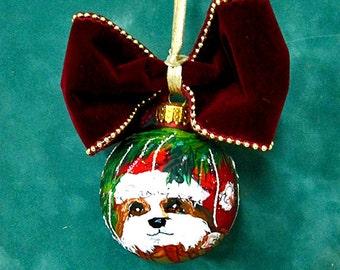 Hand Painted Shih Tzu dog Christmas Ornament