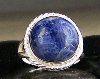 Sodalite Sterling Ring Size 7.5   Casual Wear Ring Free US Shipping Ready to Ship