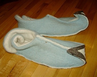 XL ELF slippers upcycled wool, angora and leather Mens 10 to 12