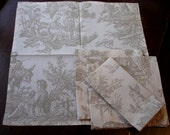 Toile Napkins in Creamy Cotton with Neutral Design Set of 4 Reserved for carolutz