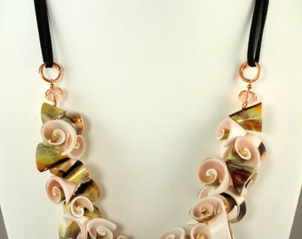 Summer Daze, handmade, adjustable, large, cut  shell necklace and black suede lacing