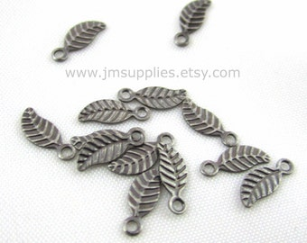 Charm, Antiqued Silver 7x3.5mm Double Sided Leaf