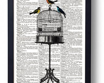 Original Art Print on A Vintage Dictionary Book Page / Birdcage Stand / Birds / Kitch