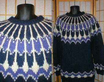80s blue hand knit Icelandic sweater size xxlarge