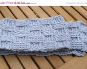 Crochet scarf - Hand Crocheted Scarf - Basketweave Scarf - Unisex Scarf in summer sky  - Fall, Winter Accessories