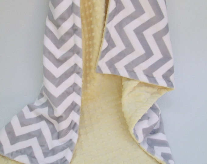 Yellow Minky Dot  with Gray Chevron Blanket for baby Toddler or Adult Can Be Personalized