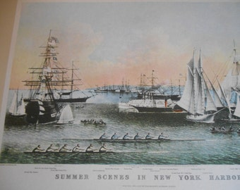 New York Harbor, Classic Currier and Ives, Vintage 1942 print